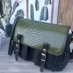 Sac Craie Mini Maths - Cuir Python Wash Green