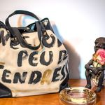 Sac Catherine Parra - Cabas Peinture Tendresse noir (photo 6)