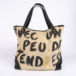 Sac Catherine Parra - Cabas Peinture Tendresse noir (photo 3)