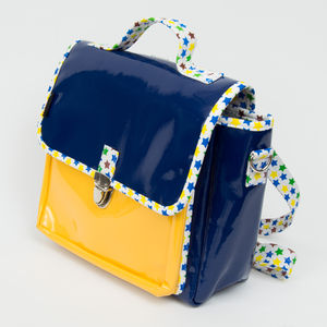 Cartable Not so big - Petit modèle bleu/jaune/étoiles (photo 1/3)