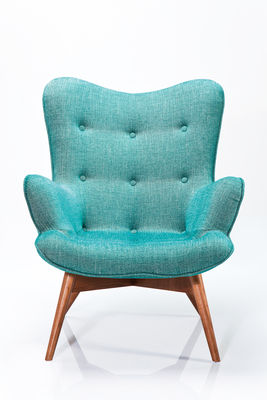 Fauteuil Angel wings tweed bleu