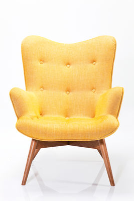 Fauteuil Angel wings tweed jaune